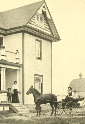Image of family in front of prairie farmhouse, man in buggy with horse, barn in background