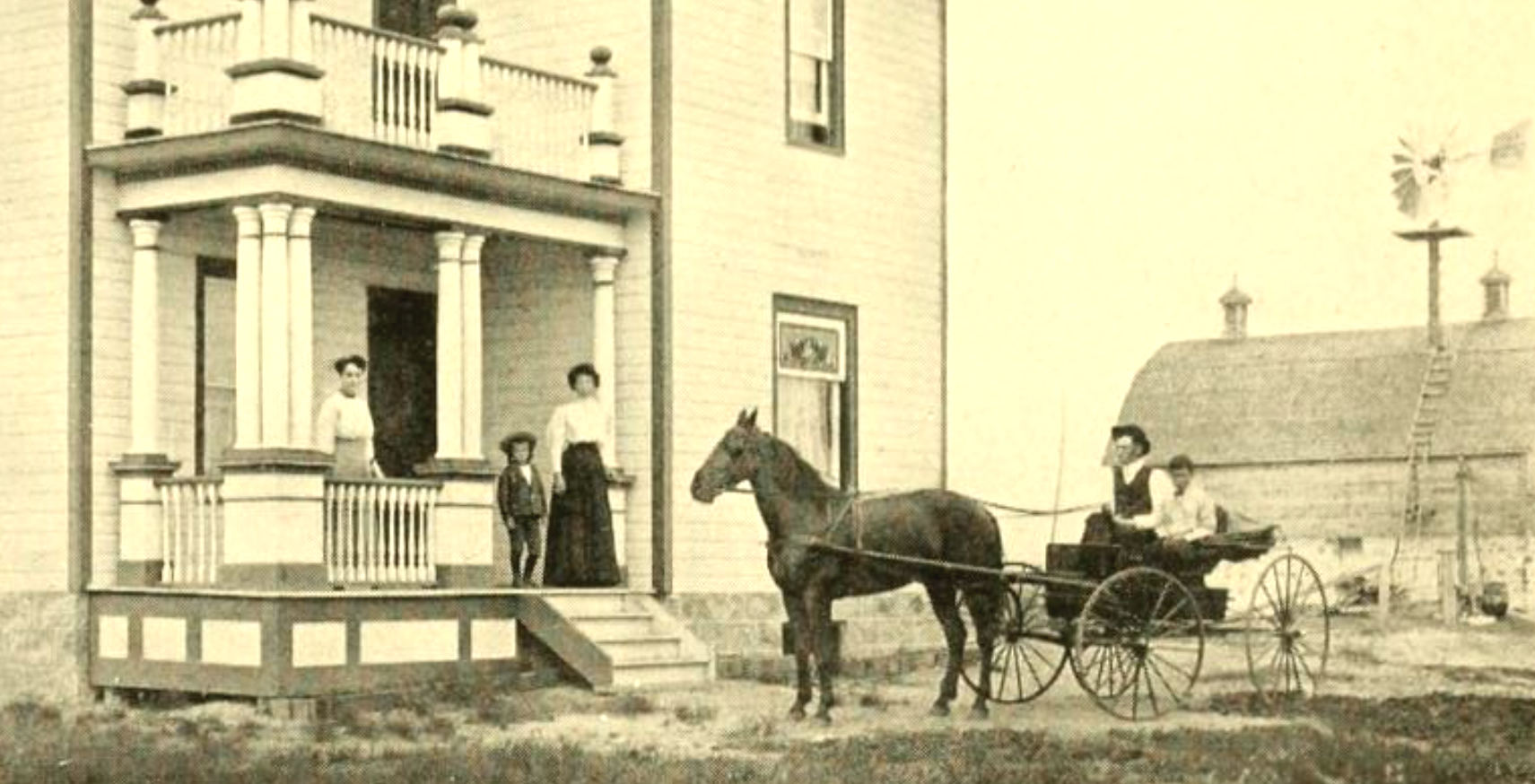 Image of prairie farm family on front porch and in buggy behind horse, barnd and windmill in background