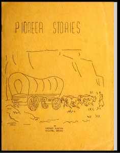 Cover art to Memories of Long Ago - Pioneer Stories with line drawing of covered wagon drawn by two team of oxen, small girl figure in front, cliff in background