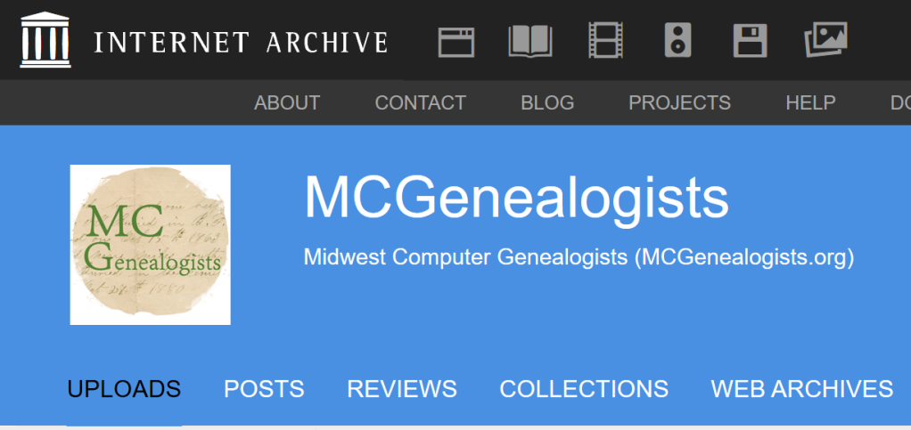 Image of MCGenealogists header at Internet Archive