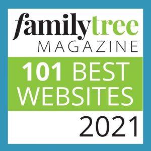 Badge highlighting Family Tree Magazine's 101 Best Websites 2021